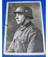 ORIGINAL WW2 GERMAN PHOTO: YOUNG HEER SOLDIER, TOP PHOTO W/ HELMET! - $15.00