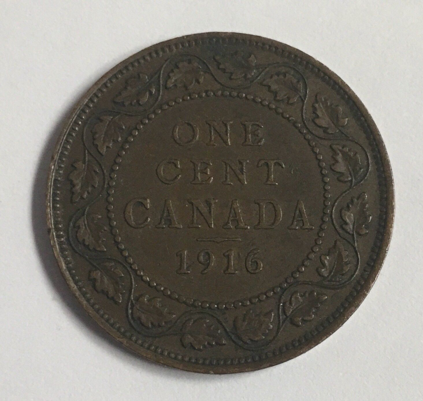 1916 Canadian Penny George V One Large Cent Coin Antique
