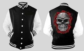 Large Skull Day Of The Dead With Roses Letterman Varsity Baseball Fleece Jacket - $28.70+