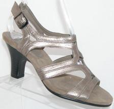 Aerosoles silver metallic man made strappy buckle slingback sandal heel ... - $31.47