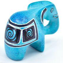 Crafts Caravan Hand Carved Sky Blue Soapstone Elephant Figurine Made in Kenya image 4