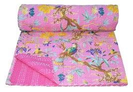 KANTHA QUILT INDIAN COTTON HANDMADE BLANKET BEDSPREAD KING SIZE CRAZY BI... - $58.79