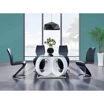 Global Furniture D9002DTW/D9002DC-BL Glass Top Table & Black PU Chair Set 5Pcs