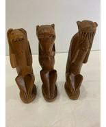 Hand Carved Wooden Monkeys - See, Hear, Speak No Evil - $58.19