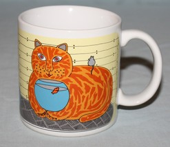 Taylor & Ng Kitty Katfish Catfish Mug Orange Smiling Cat Fishbowl - $13.81