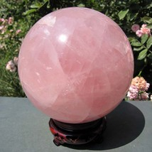 "5.2"" Rose NATURAL QUARTZ CRYSTAL SPHERE BALL He... - $138.55"