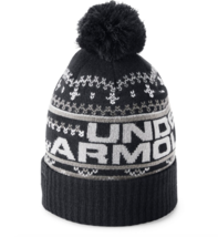 UNDER ARMOUR MENS RETRO POM POM BEANIE  black COLOR ONE SIZE NEW AUTHENT... - $17.81