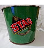 Stag Beer Ice Bucket galvanize metal with handle Trinidad & Tobago Carib... - $18.95