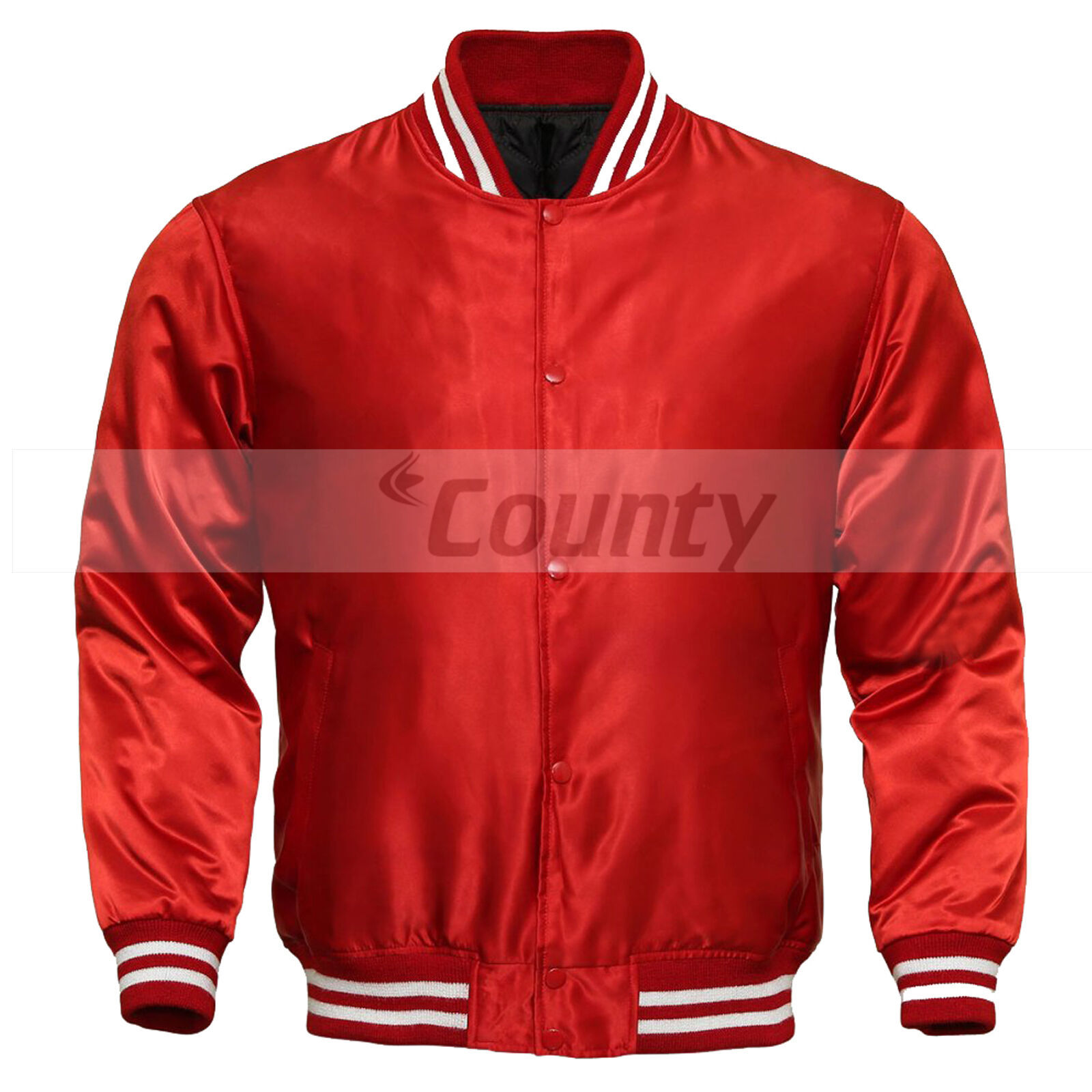 Primary image for New Letterman Baseball College Varsity Bomber Super Jacket Sports Wear Red Satin