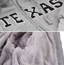 Men's Texas Embroidered Sherpa Lined Warm Zip Up Fleece Hoodie Sweater Jacket image 10