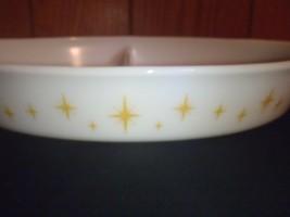 Vintage Pyrex Promo Atomic Starburst Yellow Divided Casserole Dish image 2