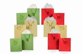 Metallic Glitter Gift Bag Assortment 2 Sizes 12 Bags Featuring Satin Rib... - $82.11