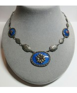 """Vintage Lapis Blue Glass 1930s Art Deco Flower Pendant Necklace 18"""" Length - $64.35"""