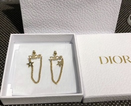 NEW AUTH Christian Dior 2019 DIO(R)EVOLUTION EARRINGS GOLD STAR CRYSTAL DANGLE image 6