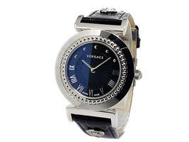 Versace Women's P5q99d009 S009 Vanity Round Stainless Steel Black Leathe... - $2,586.31