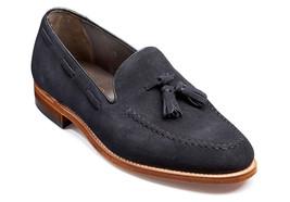 Handmade Men's Navy Blue Suede Slip Ons Loafer Tassel Shoes image 1