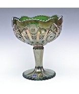 Imperial Carnival Glass Green Octagon Large Compote Comport Candy Chalic... - $38.69