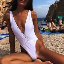 High cut thong bikinis 2019 mujer monokini solid deep v neck bathing suit women bathers thumb200