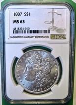 1887 NGC Morgan Silver Dollar. MS63. MG6. - $74.00