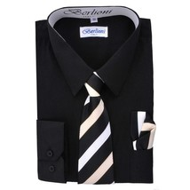 Berlioni Italy Toddlers Kids Boys Long Sleeve Dress Shirt Set With Tie & Hanky image 2