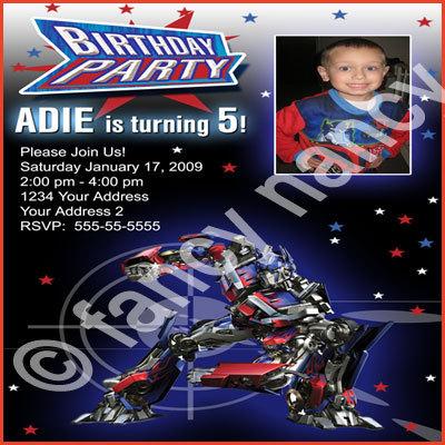 Optimus Prime Transformers Custom Photo Robot Boys Birthday Party Invitation