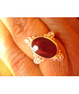 25.03 CTS FINE STERLING SILVER GENUINE RUBY RING avlb - $120.00