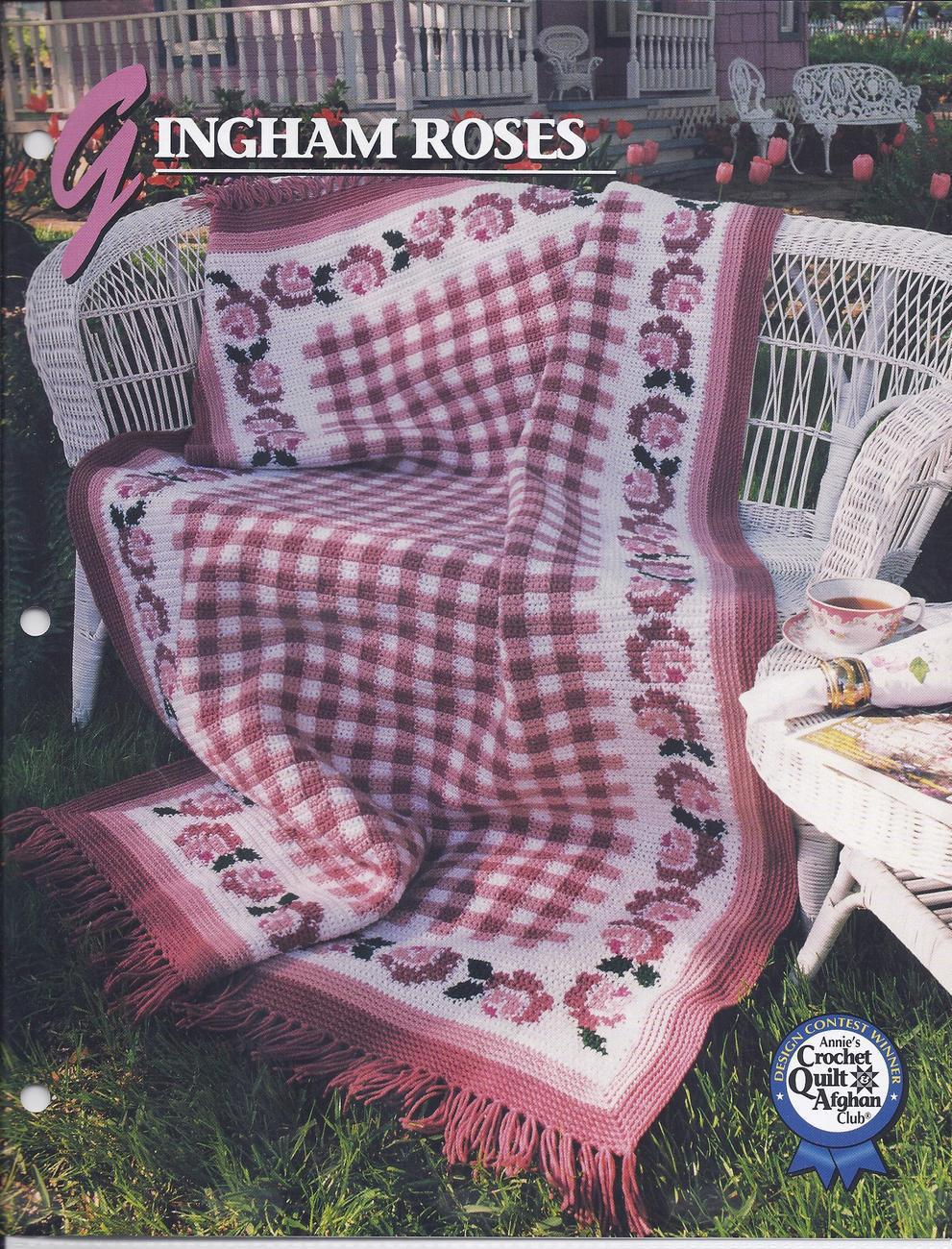 Gingham Roses Afghan Crochet Pattern~Annie\'s and 50 similar items