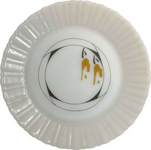 Vintage, milk glass, salad plate, brown and gold, Termicrisa, Mexico, 8 ... - $14.99