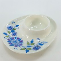 Figgjo Norway Ceramic Boiled Egg Cup Serving Tray Plate Blue Purple Flow... - $18.60