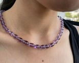 155 CT Natural Amethyst Bead Necklace Drop Beads Necklace Purple Beads  - $237.60