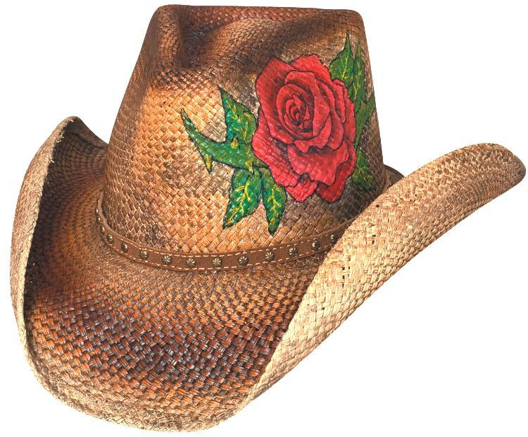 Primary image for Bullhide Love Story Genuine Panama Straw Cowgirl Handpainted Rose Studs Pecan