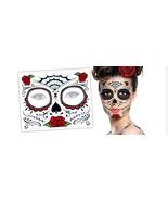 1 Day of The Dead Rose Dia De Los Muertos Halloween Zombie Face Tattoos ... - $3.49