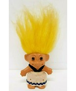 Russ Troll Vtg 90s Collectible Toy Girl Doll Lucky Charm Yellow Hair Bro... - $12.86