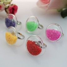 flat bubble liquid rings with stone inside glass bubble rings glass globe bottle rings thumb200