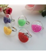 3PCS  27MM Flat Bubble Liquid Rings with stone inside,glass bubble rings... - $15.29