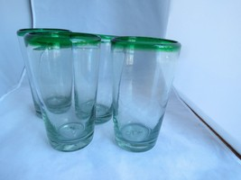 4 Hand Blown Glasses High Ball Water Tumblers Set of 4 Green Rim  Mexico... - $21.78