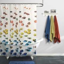 "Kids Bathroom Tub Fun Decor Colorful Fish Clear Peva Vinyl 70X72"" Shower... - $11.92"
