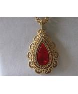 "Vintage Avon ""Granada"" Pendant Necklace, 1973 - Teardrop Red / Orange Insert - £11.62 GBP"