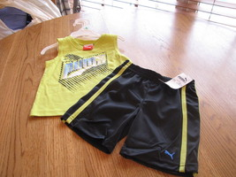 Boy Baby Puma t shirt  shorts set sleeveless active 18M 18 months outfit - $13.85