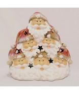 "Santa Heads Tea Light Candle Holder 6"" Pile of Santas Don Mechanic Ent C... - $18.99"