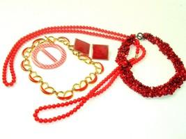 Red Costume Jewelry Lot Boho MOD Metal Vtg Retro Rockabilly Plastic - $14.80