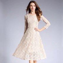 spring Temperament round neck lace wild fashion long dress - $69.00