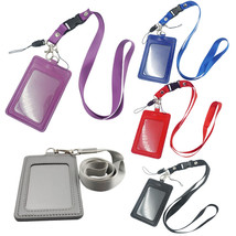 One Set ID Card Holder Vertical Strap Band Neck Lanyard Business Id Cred... - $5.35