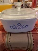 "Vtg Corning Ware ""Blue Cornflower"" 1 Quart Casserole Dish With Lid - $24.75"