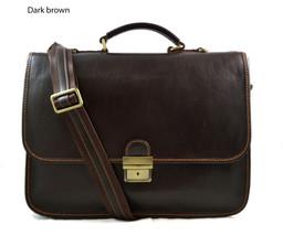 Leather briefcase men women office briefcase handbag leather shoulder ba... - $220.00