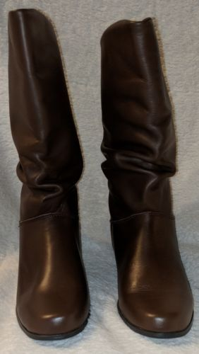 St. Johns Bay Genuine Leather Brown Mid Calf Boots 5 1/2 W