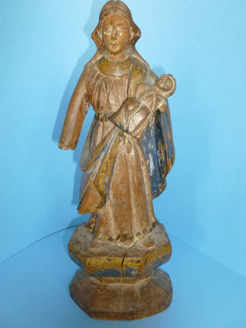 Antique Spanish Wood Santos Colonial Mother and Child Figure Statue c.1840-1850