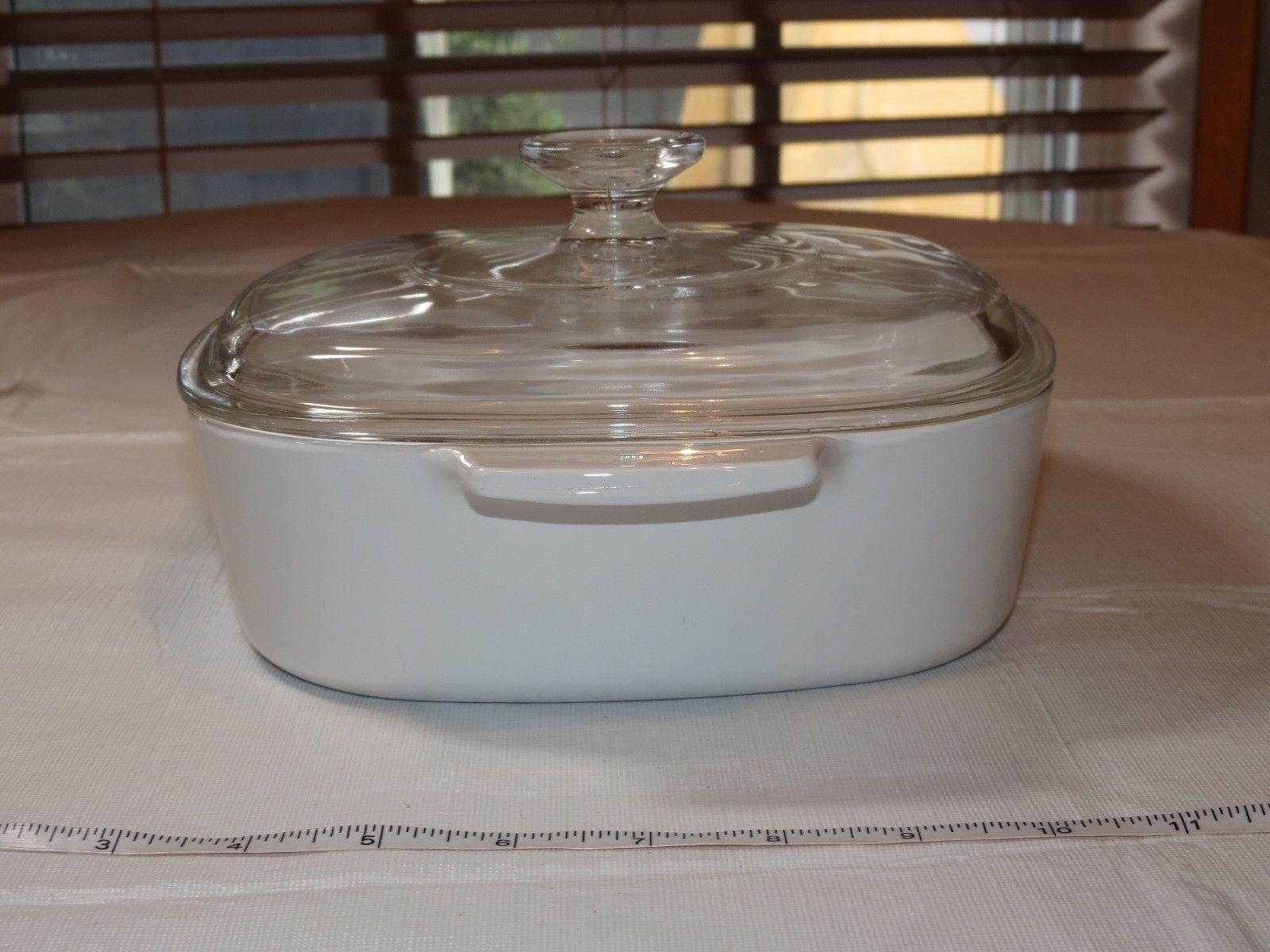"Corning Ware Blue Cornflower Square 7.75"" Casserole Dish w/ Pyrex Lid ~"