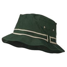 Striped Hat Band Fisherman Bucket Hat - Green Khaki L-XL - $10.34