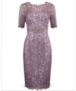 Sheath Bateau Short Sleeves Grape Sequined Mother of The Bride Dress wit... - £94.25 GBP+